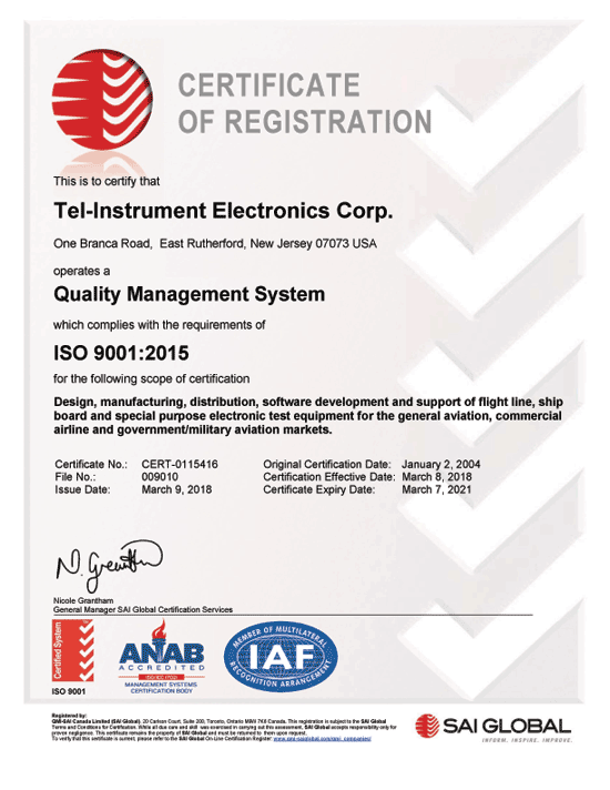 2015 ISO Certificate